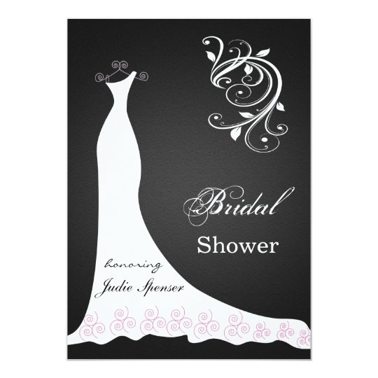 White wedding dress swirl on black  Bridal Shower Card