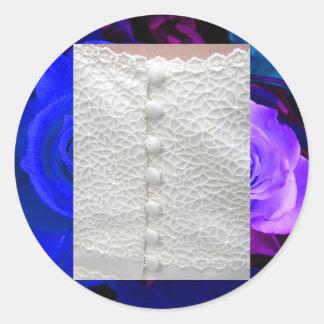 White Wedding Gown Blue Purple Roses Sticker
