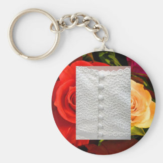 White Wedding Gown Red Yellow Roses Keychain Key Chains