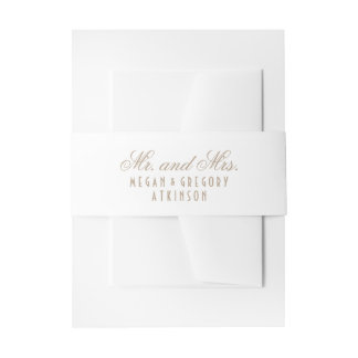 White Wedding Invitation Belly Band