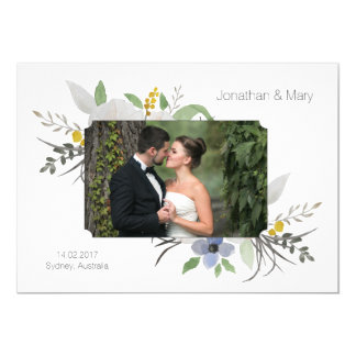 White Wedding Invitation Card save the date nature