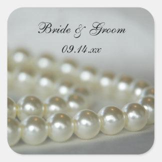 White Wedding Pearls Envelope Seals Square Sticker