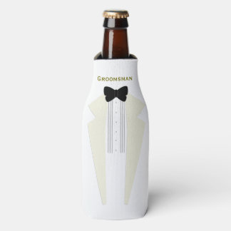 White Wedding Tuxedo Groomsman Bottle Cooler