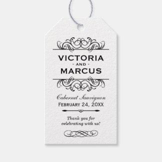 White Wedding Wine Bottle Monogram Favor Tags