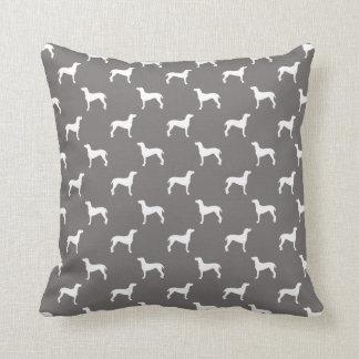 White Weimaraner Silhouettes On Grey Cushion