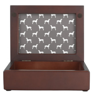 White Weimaraner Silhouettes On Grey Keepsake Box