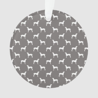 White Weimaraner Silhouettes On Grey Ornament