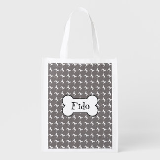 White Weimaraner Silhouettes On Grey Reusable Grocery Bag