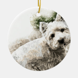 White Westie Dog Christmas Ornament