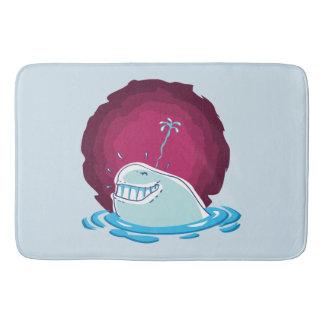white whale water spraying funny cartoon bath mat