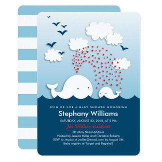 White Whales Stylish Baby Shower Invite Rounded