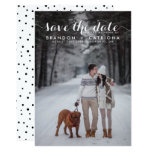 White Whimsical Script Photo Save The Date 13 Cm X 18 Cm Invitation Card