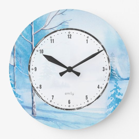 White Whiter Landscape Watercolors Illustration Large Clock