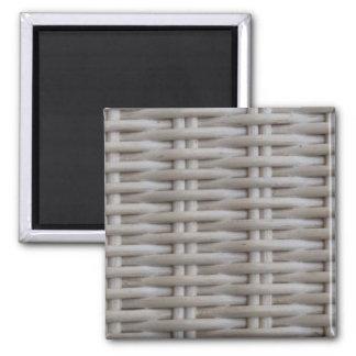 White Wicker 2 Inch Square Magnet