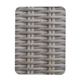 White Wicker Rectangular Photo Magnet