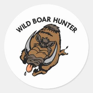White Wild Boar Hunter Round Sticker