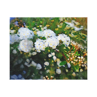 White Wild Flowers Wrapped Canvas Oil Painting Gallery Wrapped Canvas