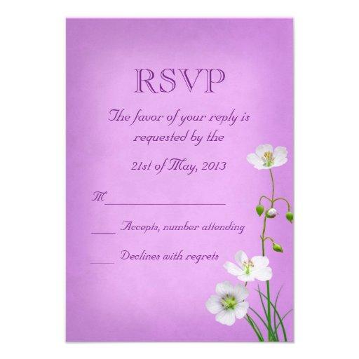 White Wildflower on Purple Wedding RSVP Invitation