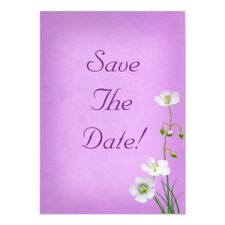 White Wildflower on Purple Wedding Save The Date Personalized Invites
