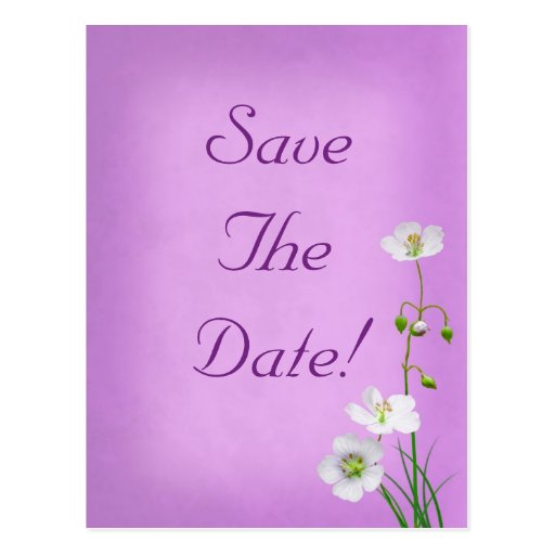 White Wildflower on Purple Wedding Save The Date Postcard