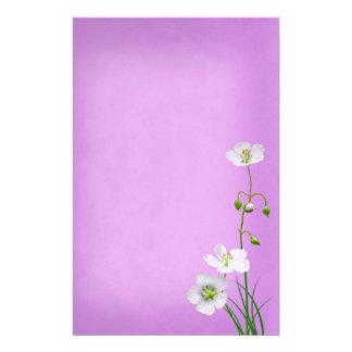 White Wildflower on Purple Wedding Stationery