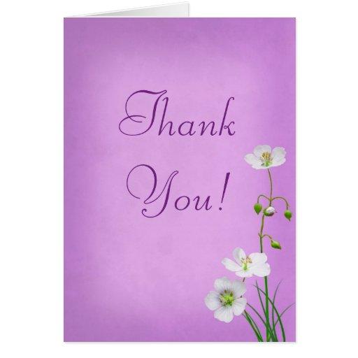 White Wildflower on Purple Wedding Thank You Card