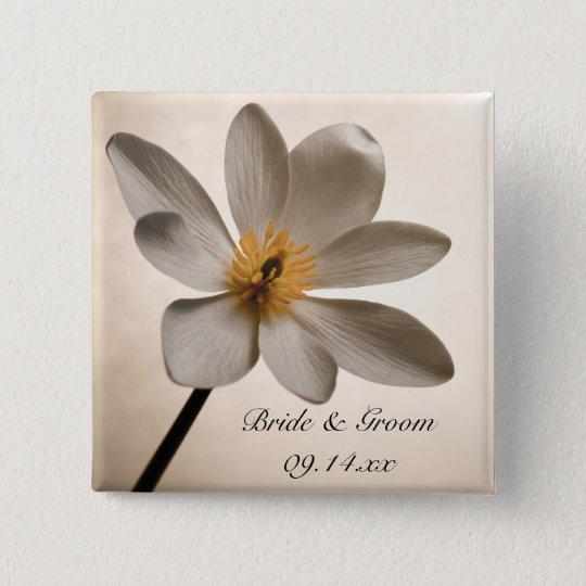 White Wildflower Wedding 15 Cm Square Badge