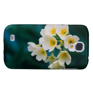 White Wildflowers On A Teal Background Galaxy S4 Case