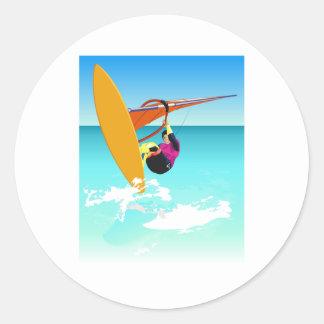 White Windsurfing Round Stickers
