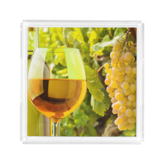 White Wine And Grapes Acrylic Tray
