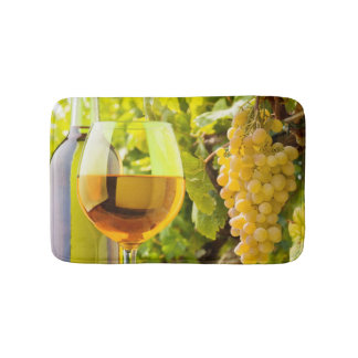 White Wine And Grapes Bath Mat