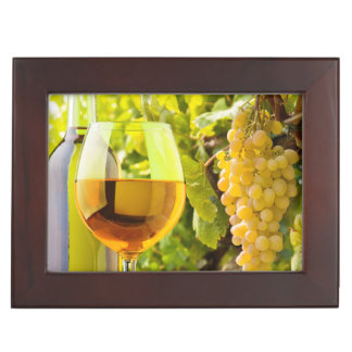 White Wine And Grapes Keepsake Box
