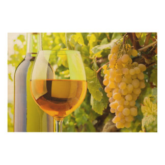White Wine And Grapes Wood Canvases