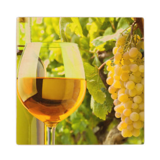 White Wine And Grapes Wood Coaster