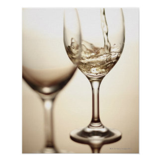 White Wine Being Poured Into Glass Print
