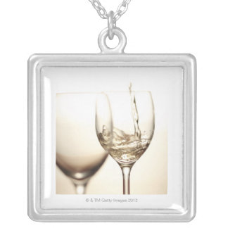 White Wine Being Poured Into Glass Silver Plated Necklace
