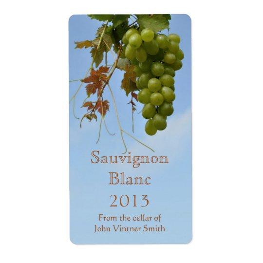 White wine bottle label shipping label