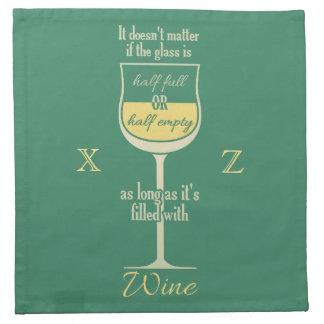 White Wine Glass custom monogram cloth napkins