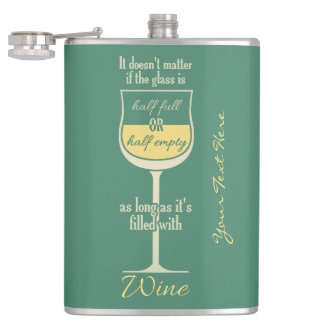 White Wine Glass custom monogram flask