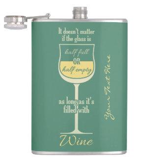 White Wine Glass custom monogram flask