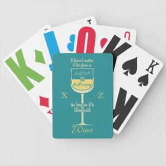 White Wine Glass custom monogram playing cards