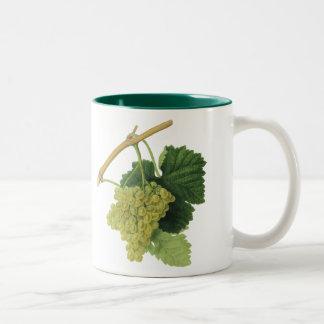 White Wine Grapes on the Vine, Vintage Food Fruit Two-Tone Coffee Mug
