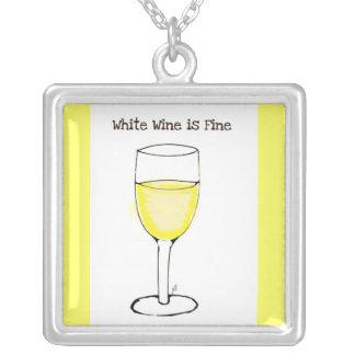 """""""WHITE WINE IS FINE"""" WINE GLASS PRINT SQUARE PENDANT NECKLACE"""