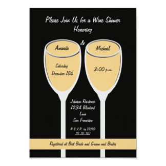 White Wine Shower or Bridal Shower Invitation