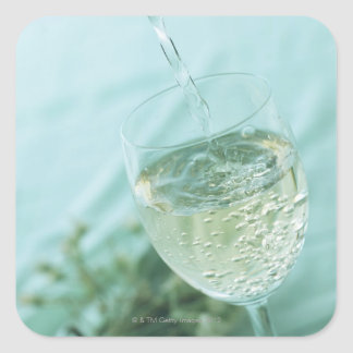 White Wine Square Sticker