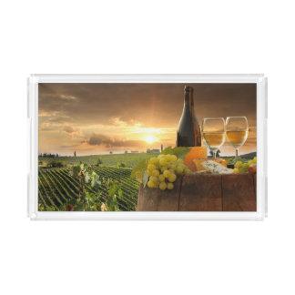 White Wine With Barrel On Vineyard In Chianti Acrylic Tray