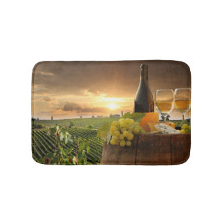 White Wine With Barrel On Vineyard In Chianti Bath Mat