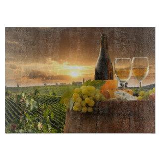 White Wine With Barrel On Vineyard In Chianti Cutting Board