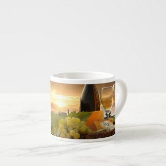 White Wine With Barrel On Vineyard In Chianti Espresso Mug