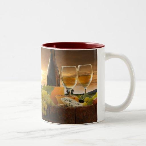 White Wine With Barrel On Vineyard In Chianti Mugs